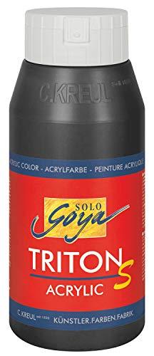 Kreul 17312 - Solo Goya Triton S Acrylfarbe, schnell trocknend mit Glanzeffekt, 750 ml Flasche, schwarz, Farbe auf Wasserbasis, in Studioqualität, vielseitig einsetzbar, gut deckend und ergiebig
