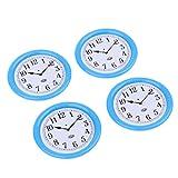 4 Stücke 1:12 Skala Puppenhaus Miniatur Uhr Wanduhr aus Harz Dekoration - Blau
