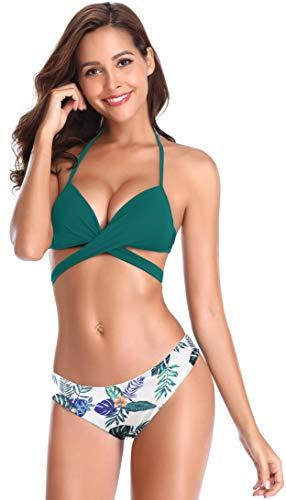 SHEKINI Bikini Femme 2 pièces Halter Réglable Criss Cross Bandage Bikini de Plage Bikini Rembourré Maillot de Bain Push Up avec Triangle Imprimé Florale Bas de Bikini Beachwear (XL, Vert foncé)