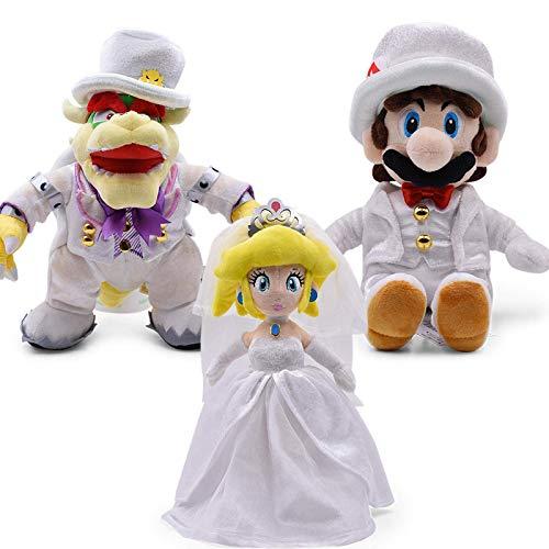 3 Teile/Satz 23-36 cm Mario Odyssey Brautkleid Bowser Koopa Pfirsich Luigi Drache Dunkles Plüschspielzeug Weiche Gefüllte Puppe Laimi