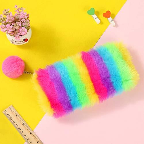 Pinenuts Federmäppchen in Regenbogenfarben, Plüsch, für die Schule, Stifte, Laserstifte, Münzen, Handtasche, Mini-Handtasche, Deckel für Süßigkeiten Rainbow + Red Ball