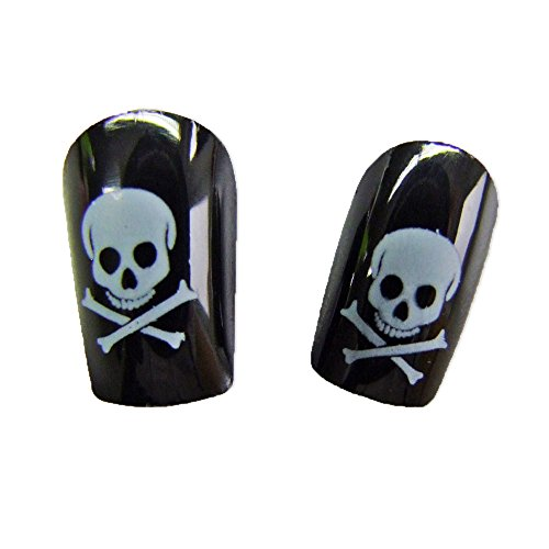 Funny Fashion Faux Ongles Noirs - Motifs Pirate - Taille Unique