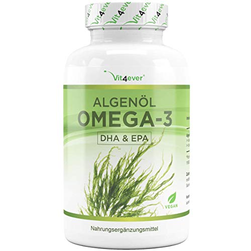 Omega 3 Vegan - Premium: life\'s™OMEGA mit DHA & EPA aus Algenöl in Triglycerid-Form - Laborgeprüft - Schadstoffarm - Extra hochdosiert - 90 Kapseln