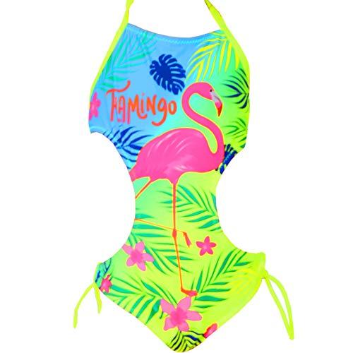 Candygirls Kinder Badeanzug Flamingo Neon Bunt Neckholder Mädchen Strand Bikini Palme Blume 9513 (Gelb, 116/122)