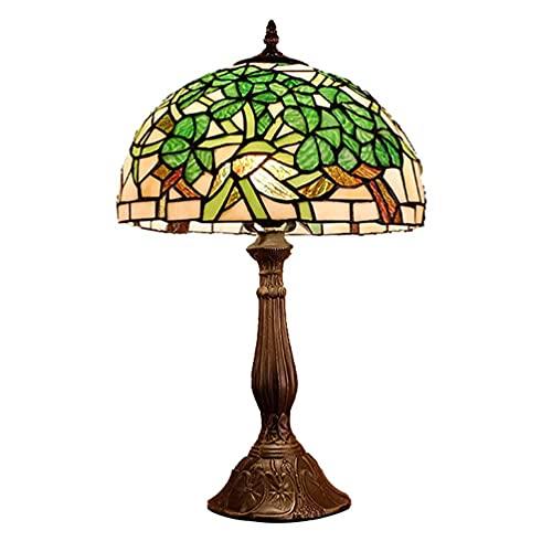 DIMPLEYA Lámpara de Mesa Retro Hojas Verdes rústicas Glaalery Tiffany Lámpara de Mesa Vintage Hecho a Mano de Vidrio Lámpara de Cama E27 Café Luces de Escritorio para Dormitorio