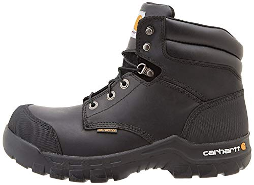 """Carhartt Men's 6"""" Rugged Flex Waterproof Breathable Composite Toe Leather Work Boot CMF6371,Black Oil Tanned,9 M US"""