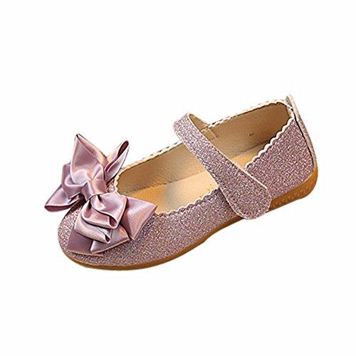 Dorical Babyschuhe Ballerinas Mädchen Schuhe Sommer Party Prinzessin Bowknot Dance Nubukleder Kinderschuhe Mädchen Schuhe Outdoor Princess Schuhe Gr.21-30 EU Reduziert(Lila,27 EU)