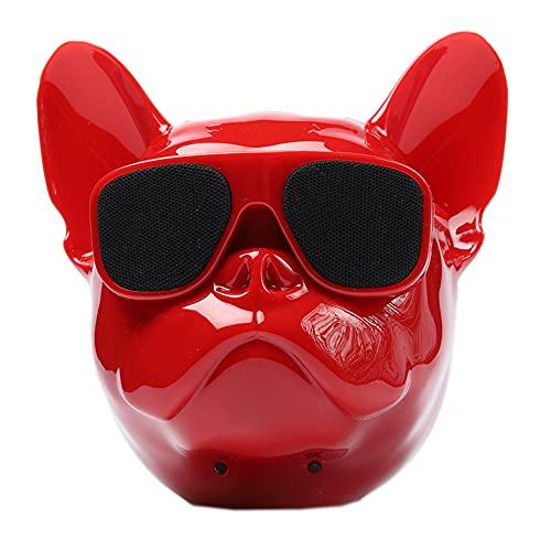 Bulldog Head Speaker 8W Portable Bluetooth Speaker Stereo, French Bulldog Speaker for Phone, Computer, Tablet (RED)