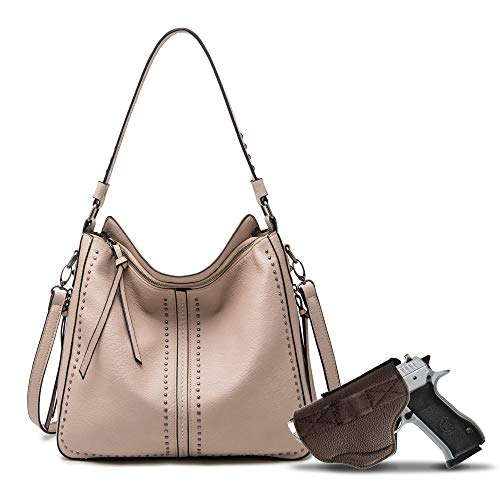 Peach Large Hobo Purse for Women Studded Leather Cross body Shoulder Bags - MWC-G1001AP
