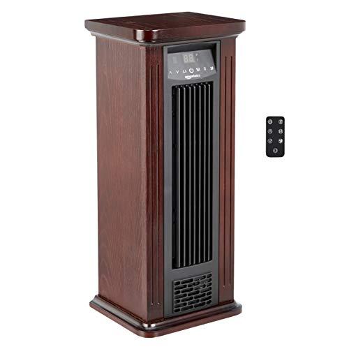 Amazon Basics Infrared Quartz Tower Heater, Brown Wood Grain Finish, 1500W