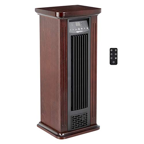 AmazonBasics Infrared Quartz Tower Heater, Brown Wood Grain Finish, 1500W