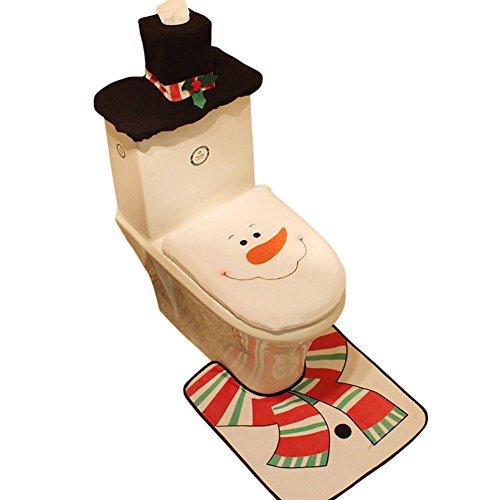 Drawihi Navidad de Alfombra de Baño +Cubierta del Cartón Cubierta del Tanque de Agua + Tapa de Inodoro (3 Piezas)