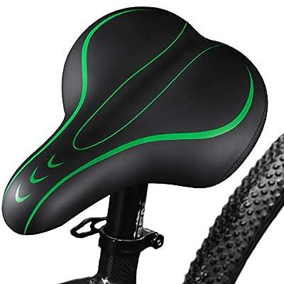 BELLE DURA Bike Seats for Comfort Men,Soft Foam Wide Leather, Bicycle Saddles Cushion, Waterproof, Dual Spring Suspension,Shock Absorbing,Mountain Bike,Bicycle Seats for Women Universal(Green)