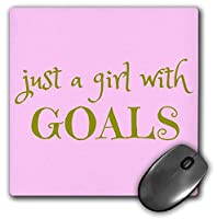 3dRose Mouse Pad Just a Girl with Goals, Gold Letters on a Pink Background, 8 x 8' (mp_265904_1) [並行輸入品]