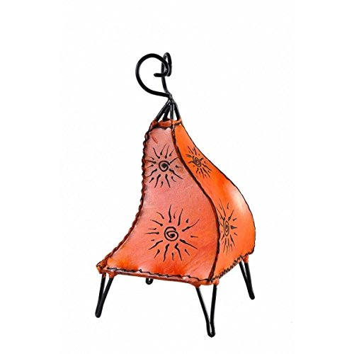 Orientalische Lampe Stehlampe marokkanische Hennalampe Lederlampe Tischleuchte Stehleuchte Orient Mellah Sonne 40 cm Color Orange
