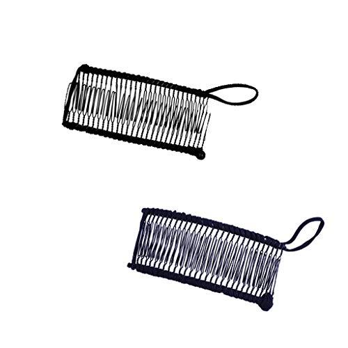 chiwanji 2pcs Banane Pince à Cheveux Conception de Doubles Peignes élastique Pour Cheveux Épais Ondulés Naturellement Bouclés