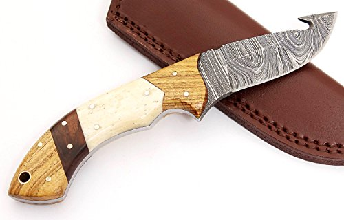 W Trading Custom Hand Made Damascus Steel Blade Gorgeous Hunting Knife with Leather Pouch. (2733)