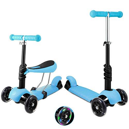 Patinete de 3 ruedas para niños pequeños y niñas, 2 en 1, con asiento desmontable, ruedas de luz LED, manillar de aluminio regulable en altura, base antideslizante, color azul