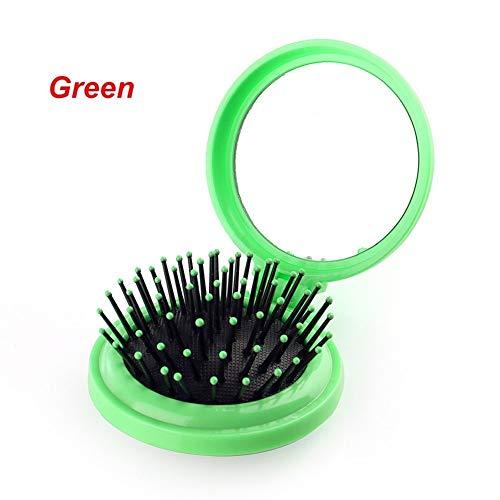 YUELANG Femme 1 Pcs avec La Brosse Pliant Cheveux Miroir De Poche Compact Taille Voyage Peigne Miroir Cosmétique De Beauté Outils Peigne (Color : Green)