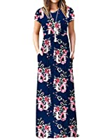 Euovmy Women's Casual Short Sleeve Loose Plain Maxi Dresses Long Summer Dresses with Pockets Flower-Navy Blue Large