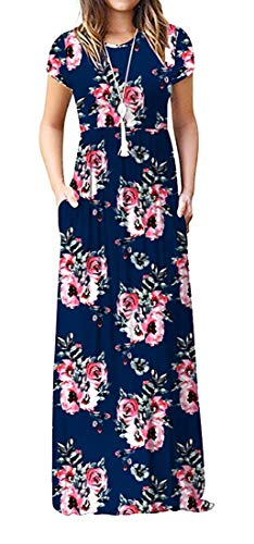 DEARCASE Women's Round Neck Short Sleeves A-line Casual Floral Printed Dress with Pocket Flower Navy Blue Large