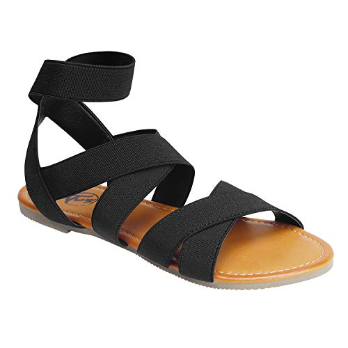 Trary Ankle Strap Casual Elastic Flat Sandals for Women Black 08