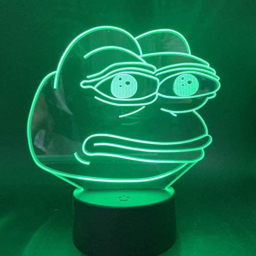 sagfinwk Night Light Home Bedroom Decoration Desk Lamp The Frog Funny Bitter Emoji 3D Led Night Light Gift for Kids Child Birthday Nightlight