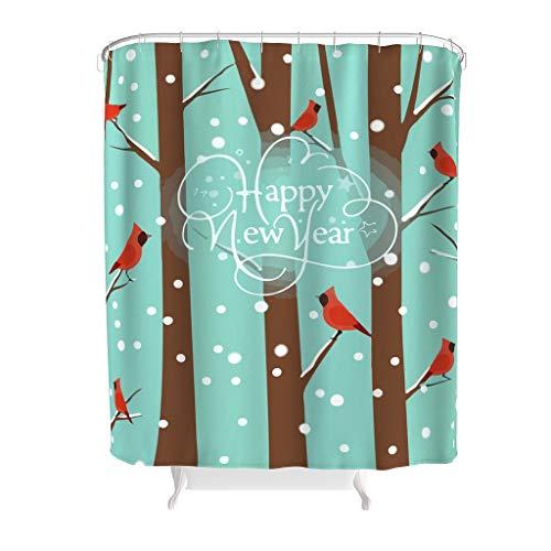 Toomjie Gelukkig Nieuwjaar Rode Vogel Gedrukt Douche Gordijn Liner voor Badkamer Polyester Klassieke Badkamer Douchegordijn Badkuip Gordijn Gift voor familie