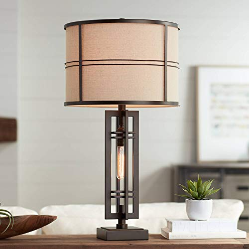 Elias Modern Industrial Table Lamp with Nightlight Oil Rubbed Bronze Off White Oatmeal Drum Shade for Living Room Bedroom House Bedside Nightstand Home Office Reading Family - Franklin Iron Works