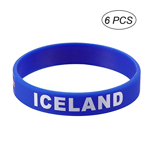 LUOEM Pulsera de Goma de Pulsera de Silicona Personalizada clásica Pulsera de Deportes de Moda, Moda de Adulto Adolescente Unisex Supreme para Copa Mundial de 2018 Pack de 6 (Islandia)