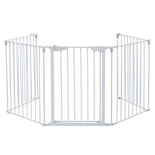 Bonnlo 121-Inch Wide Metal Baby Safety Fence/Play Yard Adjustable Fireplace Hearth BBQ Fire Gate...