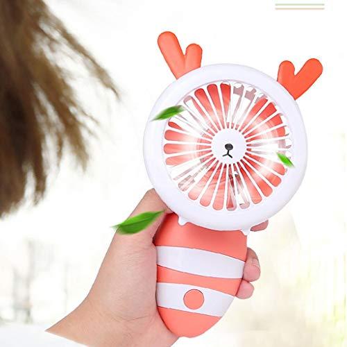 RTUQ Ventilador de mano recargable por USB, ventilador portátil, pequeño y pequeño, con correa (naranja)