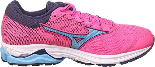 Mizuno Wave Rider 21 Wos, Zapatillas de Running para Mujer, Multicolor (Pinkglo/Aquarius/Graystone 23), 38 EU