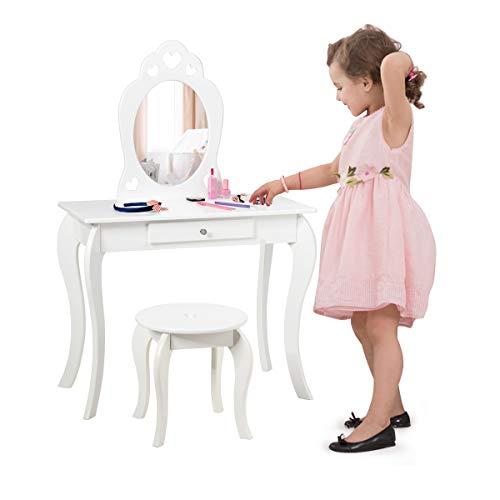 COSTWAY Set Toeletta e Sedia per Bambine, con Specchio e Cassetto, Toletta Trucco 2 in 1 con Superficie Smontabile, 70 x 34 x 105 cm (Bianco)