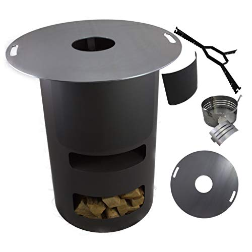 A. Weyck Tools Multifunktionstonne | Feuertonne | Feuerplatte | Dutch Oven Station | Pizza Ofen | Kamin | Plancha | Komplettsets (Multitonne-80cm Feuerplatte Set)