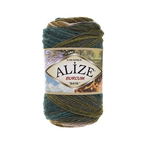 Alize Burcum Batik 5 x 100 Gramm Wolle Mehrfarbig mit Farbverlauf, 500 Gramm Strickwolle 4684