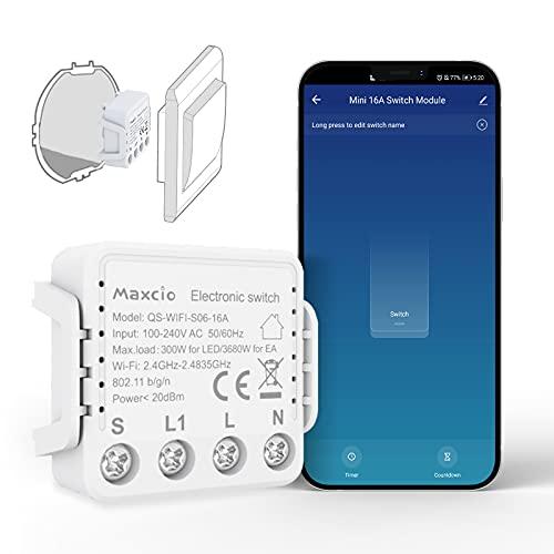 Maxcio Super Mini Wlan Schalter Relais Modul, Smart Switch kompatibel mit Alexa und Google Home, DIY Smart Home für Elektrische Geräte, Lichtschalter/Wechselschalter, Steckdose, Auf-/Unterputz