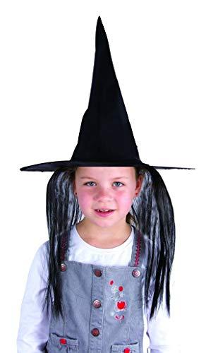 Chapeau Sorcière cheveux noirs enfant