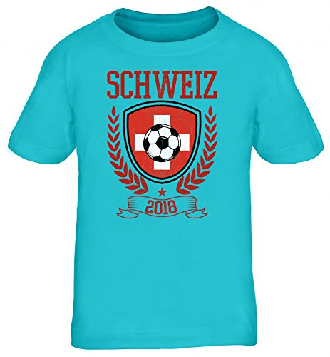 Swiss Fußball WM Fanfest Gruppen Fan Kinder T-Shirt Rundhals Mädchen Jungen Pokal Schweiz 2018, Größe: 134/146,türkis
