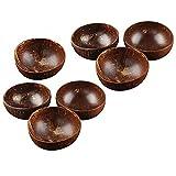 JWDS Tazón de coco 7 piezas 12-15 cm tazón de coco hecho a mano cáscara de coco vajilla cuchara madera postre ensalada fruta mezcla tazón arroz Ramen Bowl