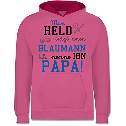 Shirtracer Sprüche Kind - Mein Held trägt einen Blaumann - 152 (12/13 Jahre) - Rosa/Fuchsia - blaumann rosa - JH003K - Kinder Kontrast Hoodie