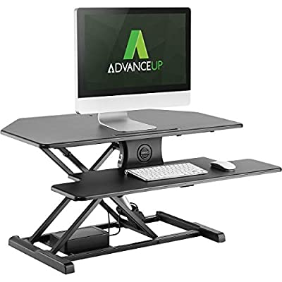 "AdvanceUp 37.4"" 2-Tier Electric Corner Standing Desk Converter Riser, Motorized Height Adjustable Ergonomic Stand Up Workstation, 44lbs Capacity 