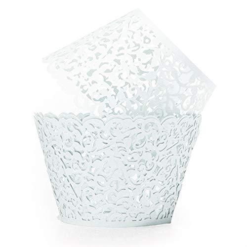 Qivange Cupcake Wrapper, Papier Backförmchen Muffin Papier Spitze Cupcake Wrappers 25 Stück Cupcake Dekoration für Hochzeiten, Geburtstage, Party, Weihnachten(Weiß)