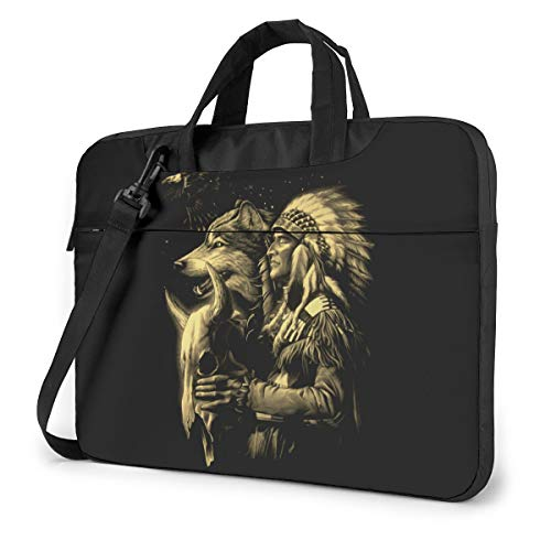 Native Americans Wolf Laptop Shoulder Messenger Bag, 15.6 Inch Notebook Sleeve Carrying Case with Trolley Belt for Lenovo Acer Asus Dell Lenovo Hp Samsung Ultrabook Chromebook