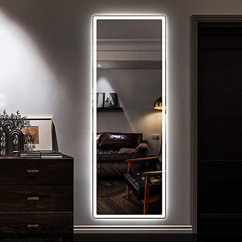 L&ED Espejo retroiluminado LED Grande de Longitud Completa 50x150cm Espejo sin Marco Esquina Redonda Dormitorio montado en la Pared Espejo de vanidad de Maquillaje