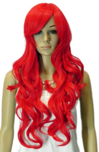 Qiyun Longue Femme Bright Rouge Waves Ondule Curl Boucle Synthetique Cheveux Cosplay Costume Complete Cheveux Perruque