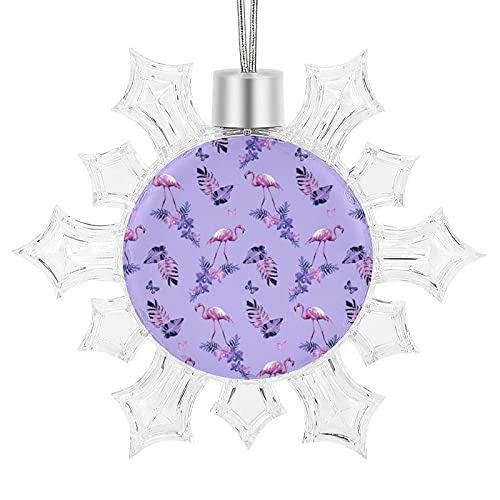 LESIF Adornos de Navidad, adornos de flamenco morados, colgantes de copo de nieve para decoración del árbol de Navidad, decoración familiar, vacaciones, Navidad, fiesta, regalo
