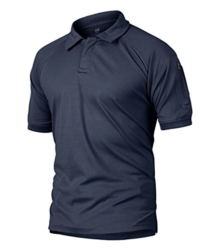 CRYSULLY Men Basic Style Short Sleeve Button Up T-Shirts Casual Pure Color Turn-Down Collar Polo Shirt Blouse Blue