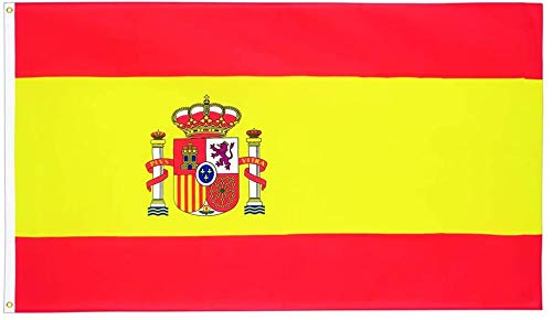 YeeATZ Spain Flag 3x5ft - Spainish National Flags with Brass Grommets 3x5 Foot
