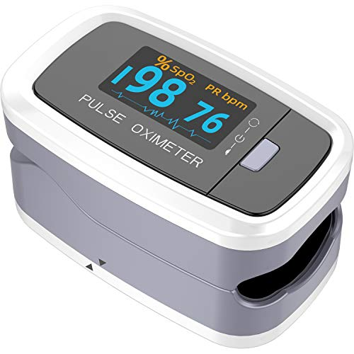 Pulse Oximeter Fingertip, Blood Oxygen Saturation Monitor Pulse Heart Rate and SpO2 Monitor with Rotatable OLED Color Digital Display, Portable Lanyard and Batteries(Gray)